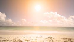 sunset on the beach. minimalist scene