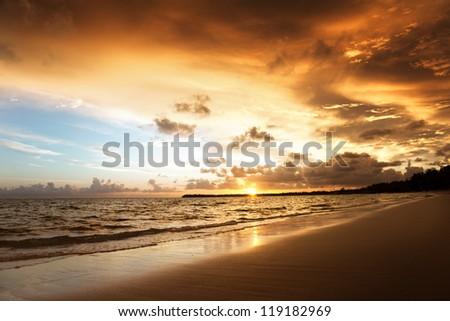 sunset on the beach of caribbean sea
