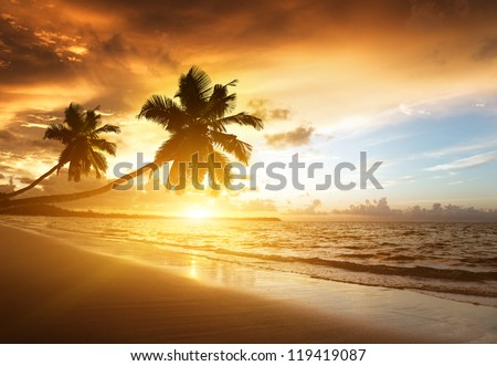 sunset on the beach of Caribbean sea, Dominican Republic