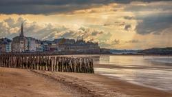 Sunset on the beach of saint malo, France