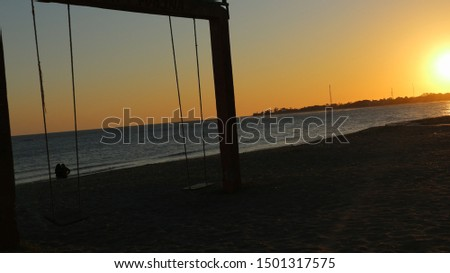 Sunset on the beach. Orange sunset sea. Sunset sea horizon panorama lanscape