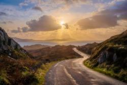 Sunset on the beautiful Beara way in West Cork, Ireland.