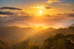 Sunset On The Blue Ridge Parkway This Was Taken On The Blue Ridge Parkway Close To Maggie Valley. The Blue Ridge Parkway an immensely popular destination for trips to see the leaves change in Autumn.