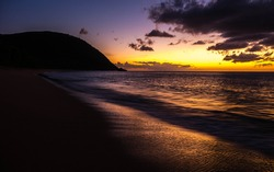 Sunset on the caribbean Island of Guadeloupe on the French Antilles