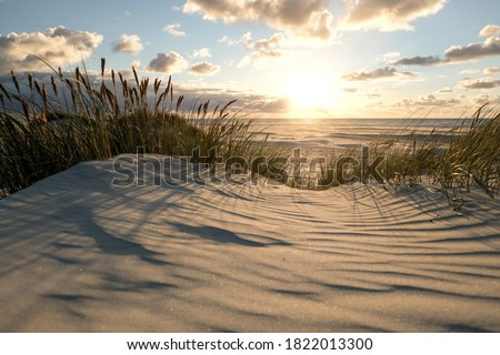 Sunset on the Coast of northern Jutland, Denmark, Europe Foto stock ©