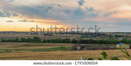 Sunset on the Colorado Eastern Plains near Denver overlooking farms and ranches in Douglas and Elbert Counties Stock photo ©