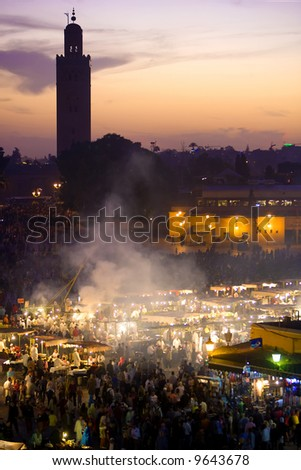 Sunset on the Djemma el Fna square, Marrakesh (behind the Koutoubia mosque)