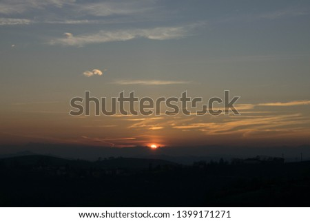 Sunset on the field, sunset landscape, Sunset in the hills