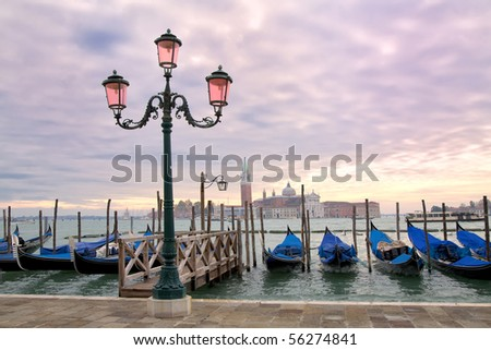 Sunset on the Grand Canal in Venice, Italy.