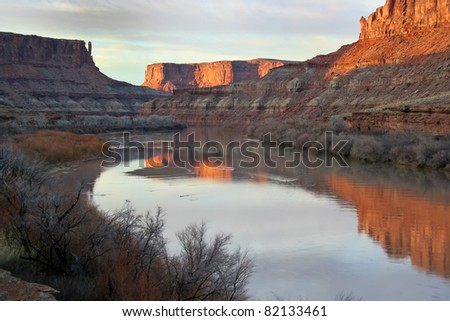 Sunset on the green River in the Labyrinth area of Canyonlands National Park-White Rim Road in Utah