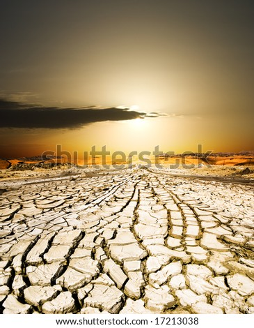 sunset on the ground dried by dryness