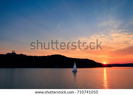 Sunset on the lake Balaton. Stock fotó ©