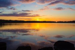 Sunset on the lake Vuoksa