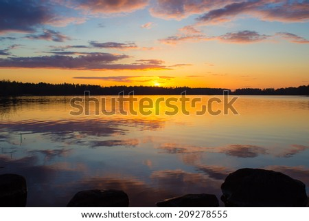 Sunset on the lake Vuoksa
