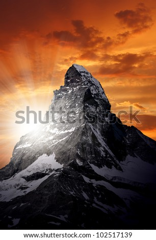 sunset on the Matterhorn