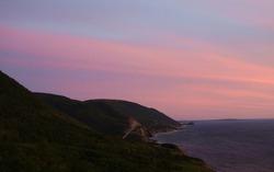 Sunset on the Mountainside Cabot Trail facing the Atlantic Ocean in Cape Breton, Nova Scotia