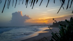 Sunset on the ocean beach, Sri Lanka.