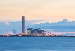 Sunset on the power plants