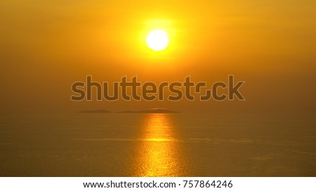 Sunset on the river,orange backlit by mystical sunlight,sunlight background #757864246