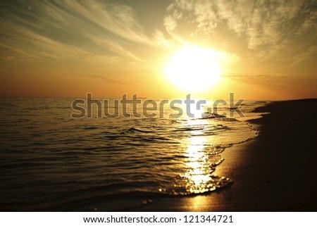 sunset on the sea beach #121344721