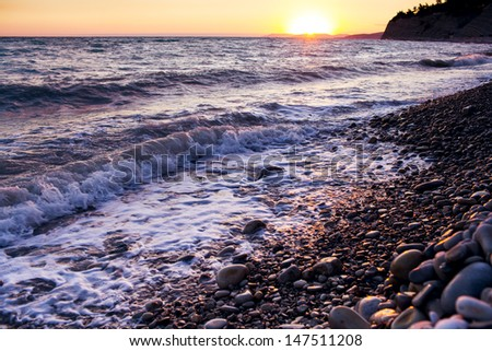 sunset on the sea in the evening