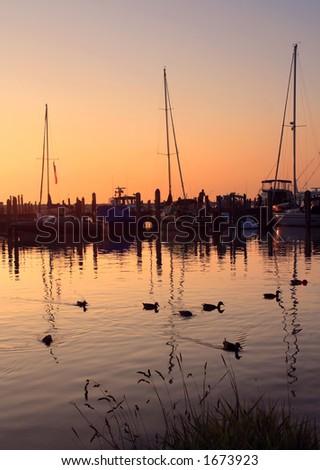 Puesta del sol en la orilla del lago Michigan en Leland,Michigan