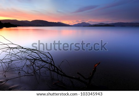 Sunset on the shores of Loch Lomond