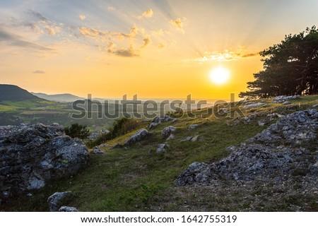 Sunset on the Swabian Alb Imagine de stoc ©