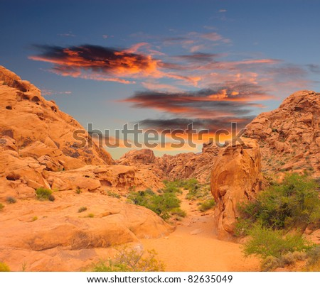 Sunset on the Valley of Fire State park in Nevada