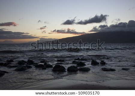 Sunset on the West Maui Mountains from Kihei