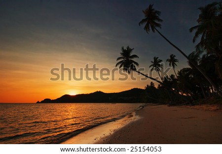 Sunset on tropical beach. Siam bay. Province Trat. Koh Mak island. Kingdom Thailand