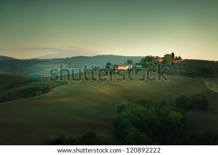 Sunset on Tuscany hills, Italy | late September