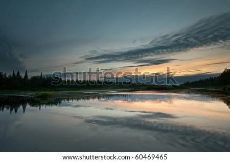 Sunset on Varzuga river