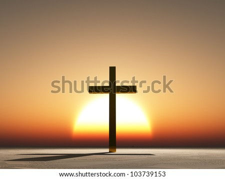 Sunset or sunrise with cross and shadow