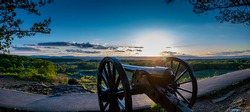 Sunset over a cannon at Gettysburg National Military Park in Gettysburg, Pennsylvania in May of 2020