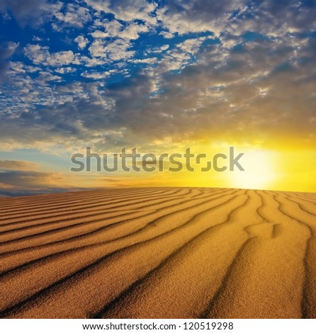 sunset over a desert