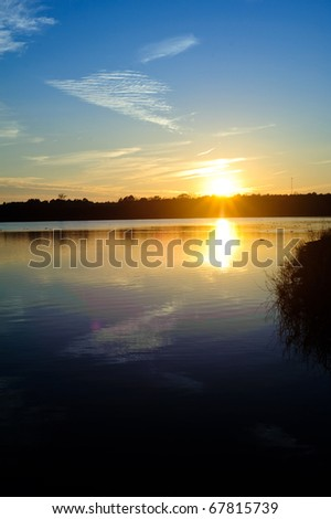 Sunset over a lake