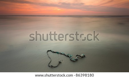 Sunset over a rope