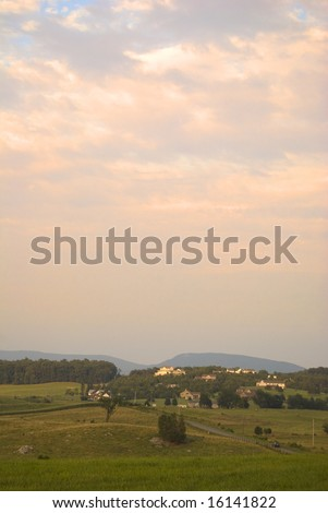 Sunset over a rural valley in Virginia
