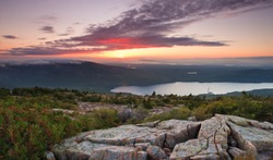 Sunset over acadia national park, from the top of Cadillac mountain