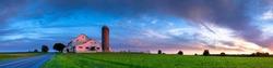 Sunset over Amish farm, Lancaster County Pennsylvania