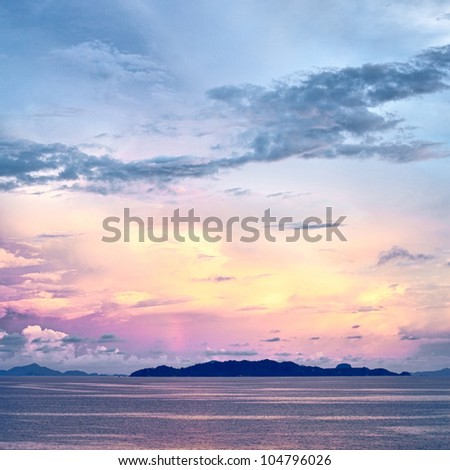 sunset over Andaman Sea, aerial view, Thailand