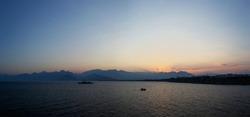 Sunset over Antalya mountains panorama