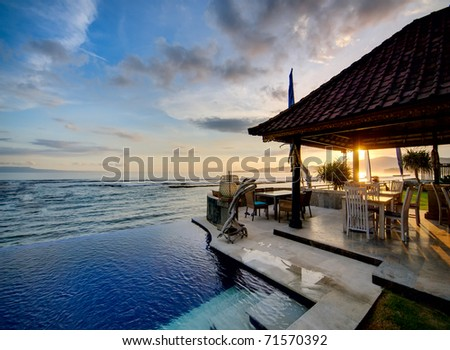 Sunset over Balinese coastline