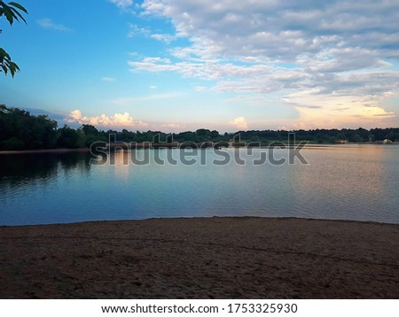 Sunset over beautiful Lake in Southern  Germany