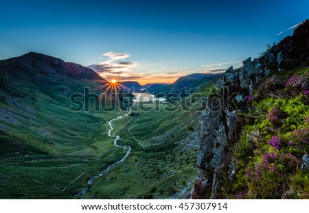 Sunset over Buttermere, The Lake District, Cumbria, England