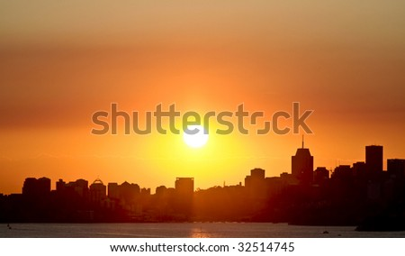 Sunset over city scape