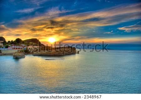 Sunset over Corfu island, Greece
