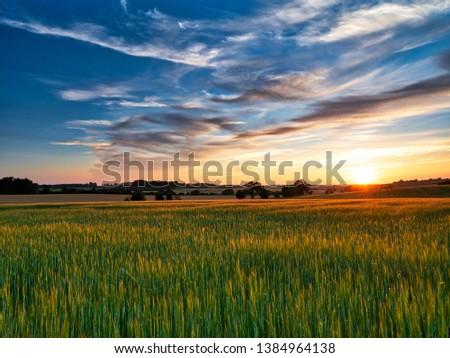 Sunset over crop field in Suffolk UK  #1384964138
