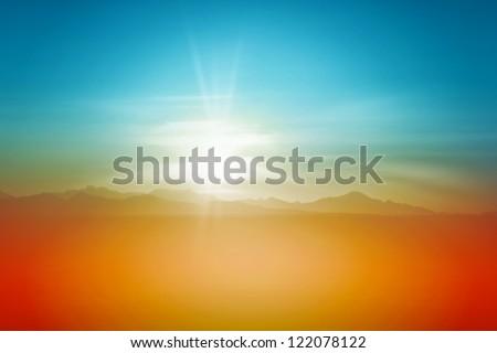Sunset Over Desert Sky Background Landscape